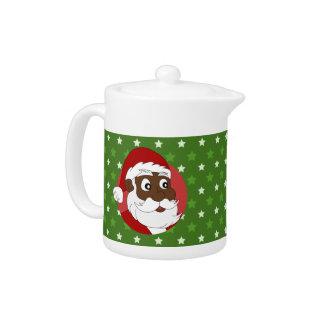 Black Santa Claus Cartoon Teapot