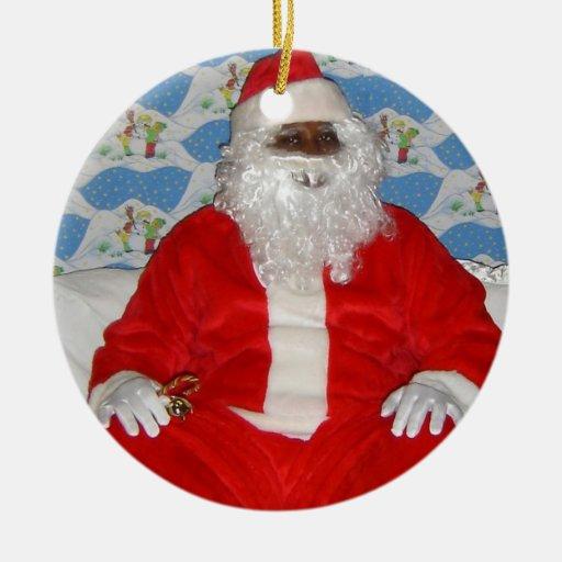 Black santa claus christmas decoration ornament zazzle