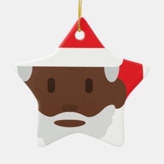 black santa claus emoji ceramic ornament