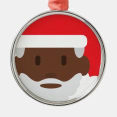 Black Santa Claus Emoji Metal Ornament at Zazzle