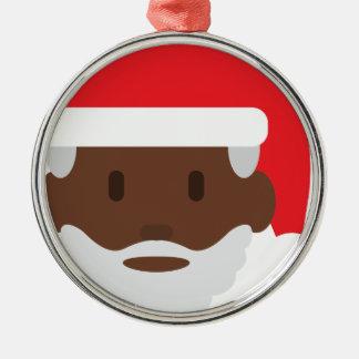 black santa claus emoji metal ornament