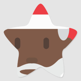 black santa claus emoji star sticker