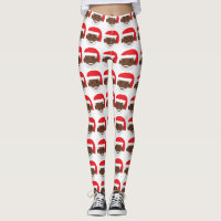 black santa claus emoji xmas leggings