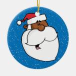 Black Santa Claus Double-Sided Ceramic Round Christmas Ornament