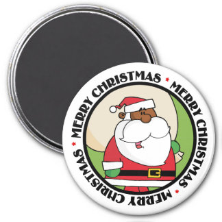 Black Santa Claus with Toy Sack 3 Inch Round Magnet