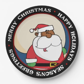 Black Santa Claus with Toy Sack 9 Inch Paper Plate