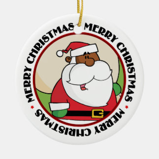 Black Santa Claus with Toy Sack Christmas Ornament