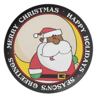 Black Santa Claus with Toy Sack Dinner Plate