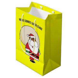 Black Santa Claus with Toy Sack Medium Gift Bag