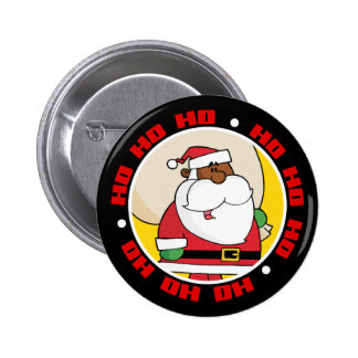 Black Santa Claus with Toy Sack Pinback Button