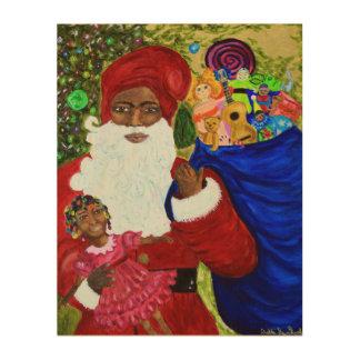 Black Santa Claus Wood Canvas Art - Christmas Gift