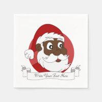 Black Santa Clause Cartoon Paper Napkin