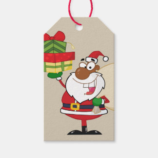Black Santa Holding Gifts Paper Gift Tag