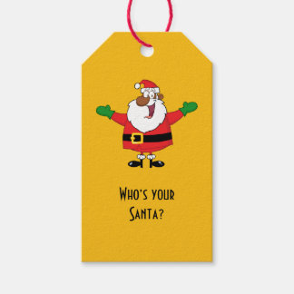 Black Santa Hugs Paper Gift Tag