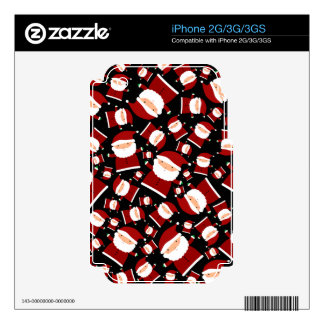 Black santa pattern decal for the iPhone 3GS
