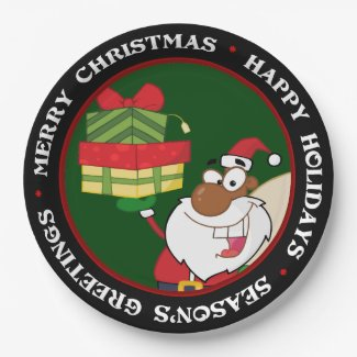 Black Santa with Gifts 9 Inch Paper Plate