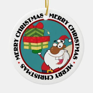 Black Santa with Gifts Christmas Tree Ornaments