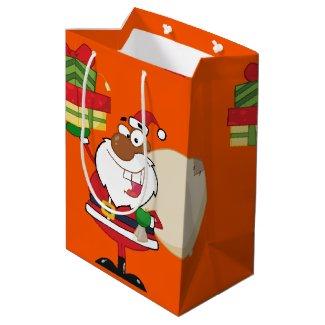 Black Santa with Gifts Medium Gift Bag