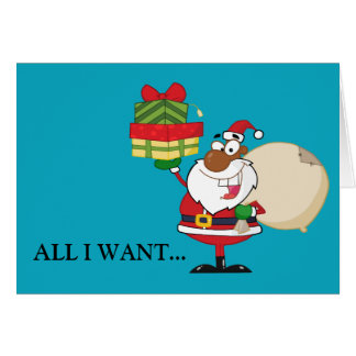 Black Santa with Gifts Stationery Note Card