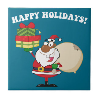 Black Santa with Gifts Tiles