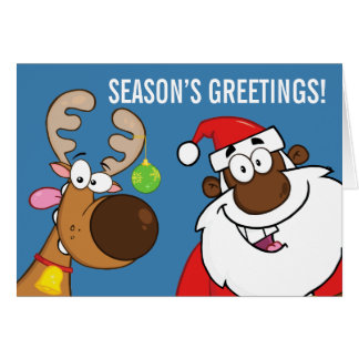 Black Santa with Reindeer Card