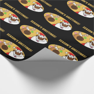 Black Santa with Reindeer Wrapping Paper