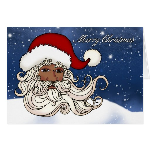 Black Santa With Snow Merry Christmas Greeting Cards