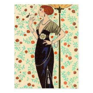 Black Satin and Rose by George Barbier Postcard