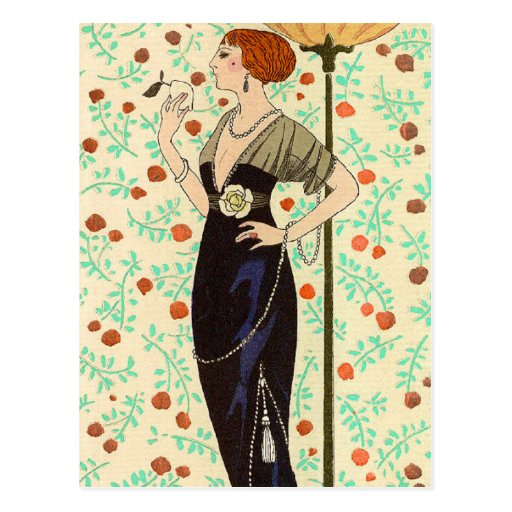 Black Satin and Rose by George Barbier Postcards