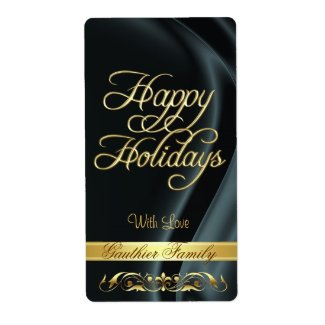 Black Satin Gold Scroll Happy Holidays Wine Label