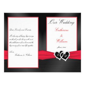 Black Satin Pleasts with Hearts Wedding Program Flyer