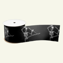 "BLACK SATIN RIBBON 3"" WITH DANCING SKELETONS"