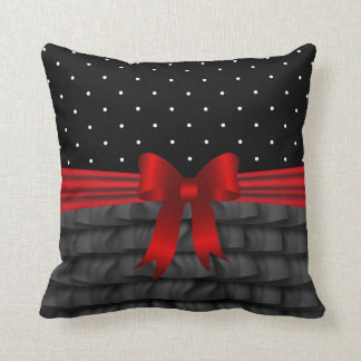 Black Satin Ruffles, Polka Dots and Red Bow Throw Pillow