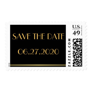 Black Save The Date Great Gatsby Wedding Stamps