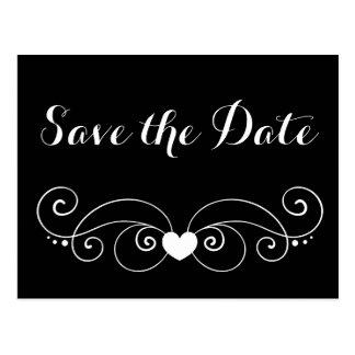 Black Save the Date Heart Wedding Engagement Postcard