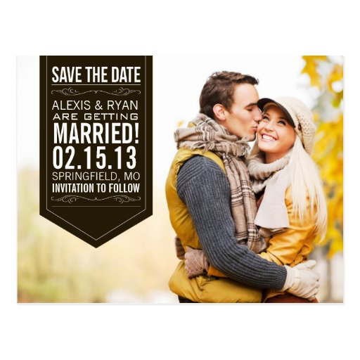 Black Save The Date Post Card
