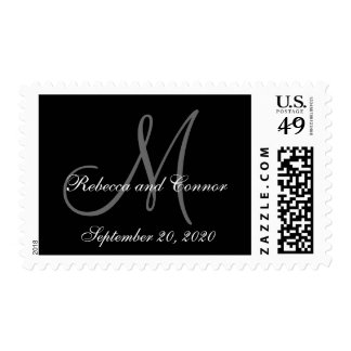 Black Save the Date Wedding Postage