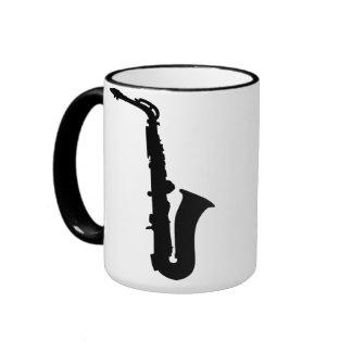 Black saxophone instrument ringer coffee mug