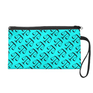 Lawyer Themed Black Scales of Justice on Aqua Blue Wristlet Purse