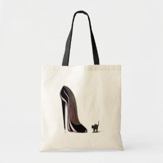 Black Scardey Cat and Stiletto Shoe Canvas Bag