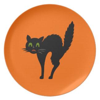 Black Scardey Cat Halloween Plate