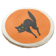 Black Scaredy Cat  Halloween Party Treat Sugar Cookie