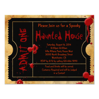 Black Scary Blood Splatter Halloween Party Ticket 4.25x5.5 Paper Invitation Card