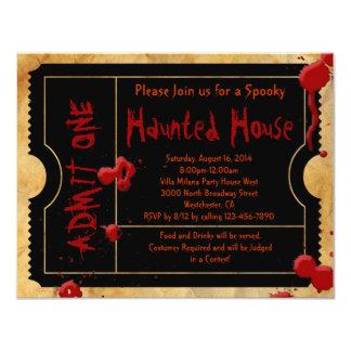 Black Scary Blood Splatter Halloween Party Ticket Card