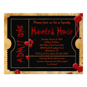 Black Scary Blood Splatter Ticket Invitations