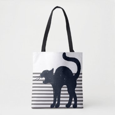 Halloween Themed Black Scary Cat & Grey Stripes Tote Bag