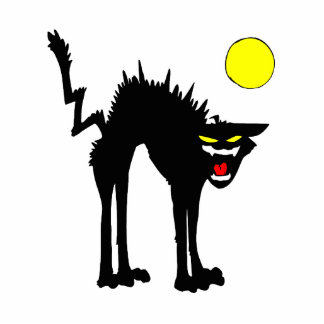 black scary cat yellow moon cut outs
