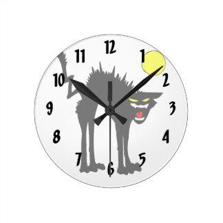 black scary cat yellow moon round wallclocks