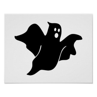 Black scary ghost print