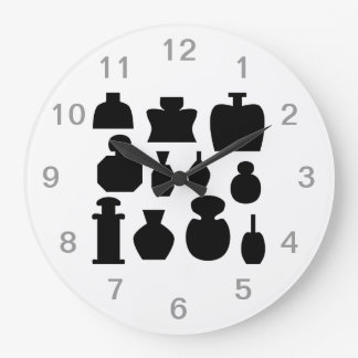 Black Scent Bottles Design. Large Clock